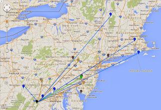 Photo: K8GP/R - FM08us 902M-10G QSO map - ARRL June VHF 2014 - Grn=902 Blu=1.2G Pur=2.3G Gry=3.4G Wht=5.7G Gld=10G