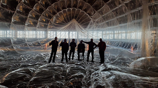 Some of the Loon team inside a balloon