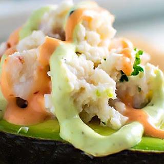 Seafood Stuffed Avocados.