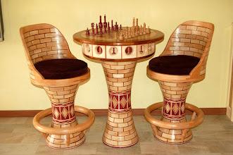 Photo: Plataan + merbau + purperhart + beuken tafel hoog 95cm breed 75cm +_ 2450 stukjes prijs in overleg