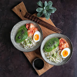 Breakfast Ramen with Kimchi & Avocado.