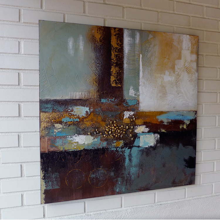 Contemporary Mix Media Painting _abst01_100 x 100 by K RULES ENTERPRISE