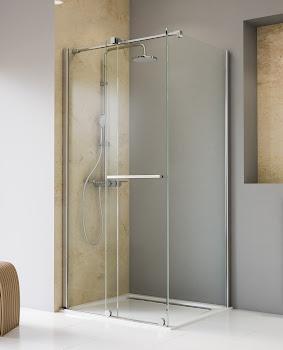 Gleittür / Schiebetür 2-tlg. mit Seitenwand, 1200x900x2000 mm, Chromoptik, Sicherheitsglas Klar hell beschichtet
