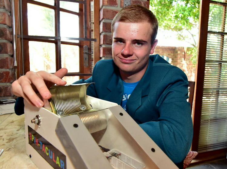 Brad Spies is ecstatic after receiving the Eskom Expo for Young Scientists International Science Fair award.