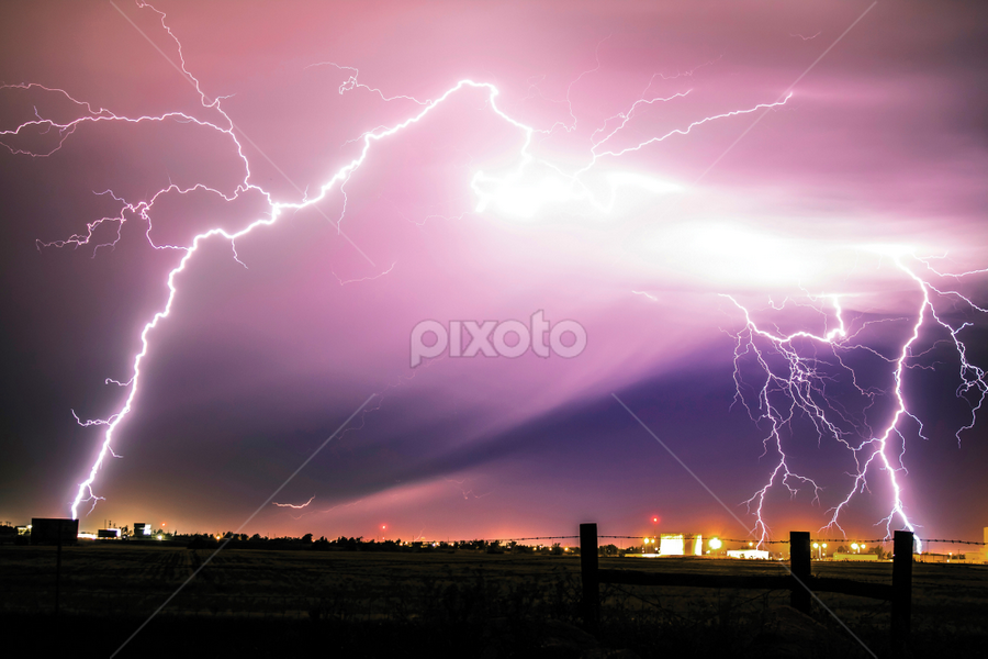 Light Explosion by Glenn Patterson - Landscapes Weather ( lightning, sky, thunderstorm, colorful, weather, landscape, storm )
