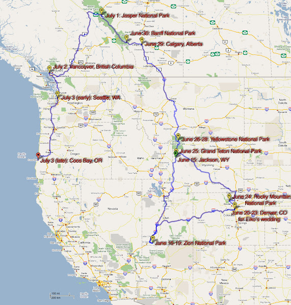 Photo: Road trip map from 2008, I think. Jam packed, I think anyone would agree.