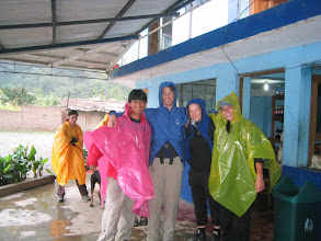 Photo: When we woke up the second day, it was raining jungle-style. Fortunately, we all had rain gear (Thanks Keith!).