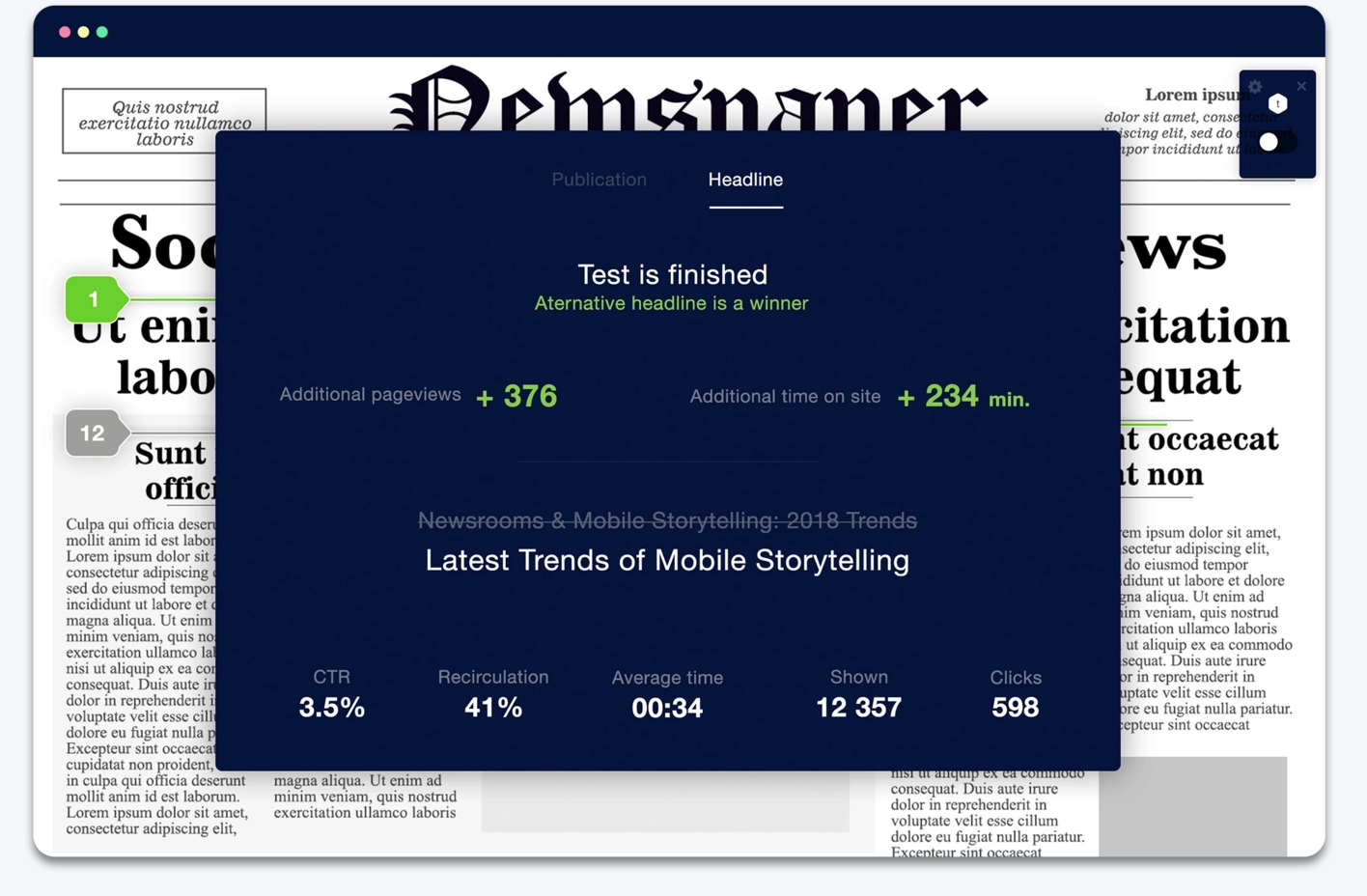 content tracking for news websites
