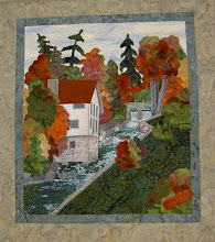 Photo: This was also part of the challenge for the International Plowing Matching 2008. The original wall hanging was sold and the newer version made into a pattern - HBH201- Autumn at the Old Mill.  It is a landscape applique quilt.