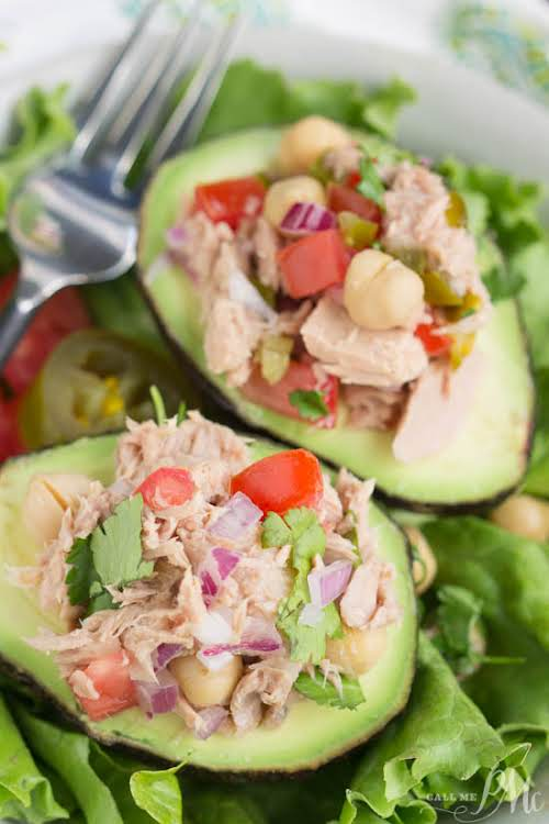 """Avocado Filled Canned Tuna Ceviche Salad """"Nothing healthier than Stuffed Avocados! Avocado..."""