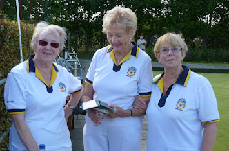 Photo: Eunice Hargreaves, Ladies Singles Champion with Ann Armstrong & Marker Val Harvey.