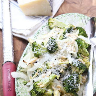 Grilled Broccoli and Vidalia Onion with Pine Nuts and Parmesan