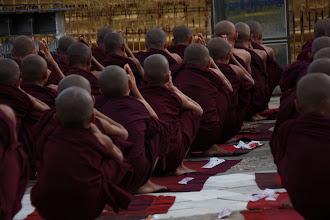 Photo: Year 2 Day 56 - Monks Praying at Lawkananda Pagoda