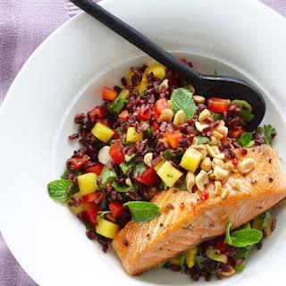 Thai Black Rice Salad with Wild Salmon.