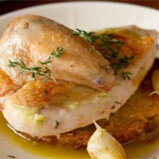Garlicky Roasted Chicken with Garlic Jus on Garlic Toast.