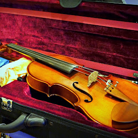 Violin and Case. by Ian Gledhill - Artistic Objects Musical Instruments ( music, musical, violin, strings, entertainment, Music, Instrument, Contest )