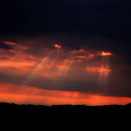 Heavens  light shines down by Gordon Simpson - Landscapes Cloud Formations