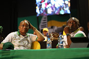 Former ANC president Jacob Zuma and his then deputy Cyril Ramaphosa at the 2017 Nasrec conference. File photo.