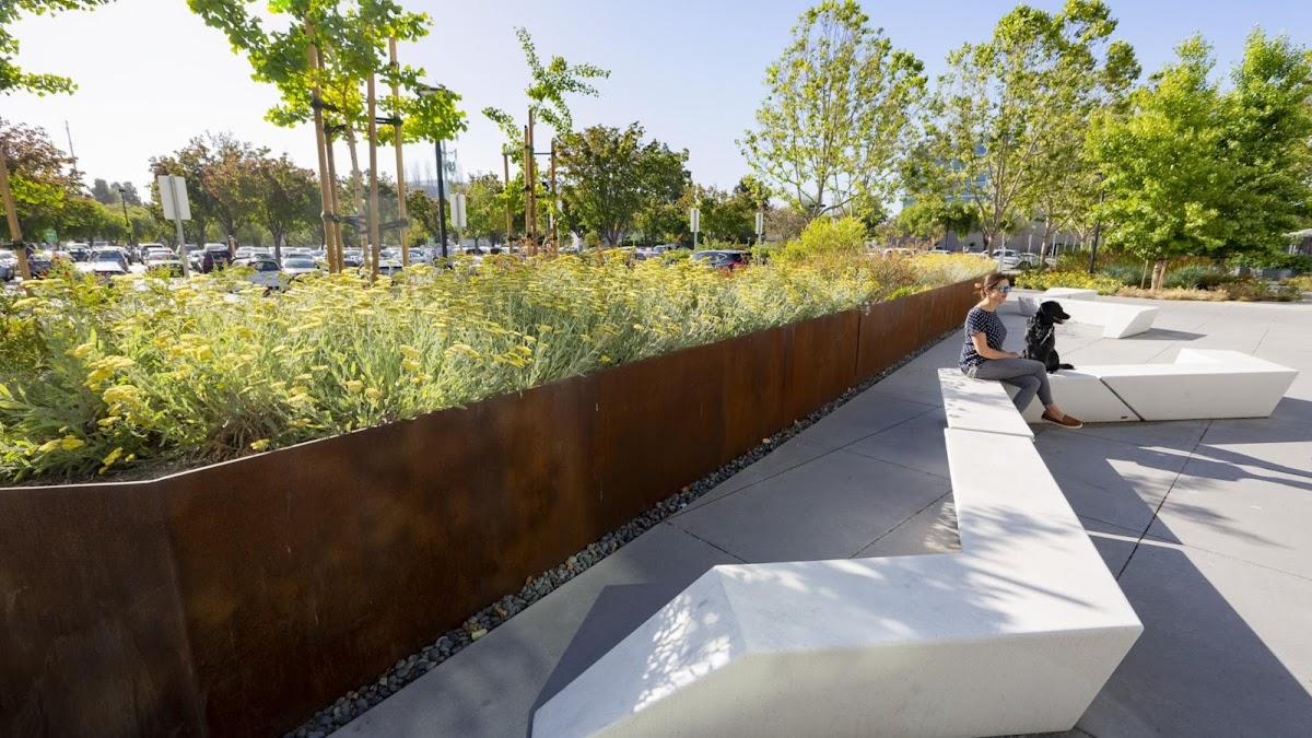 A green landscape next to an urban concrete walkway.