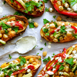 Za'Atar Chickpea Stuffed Sweet Potatoes Recipe