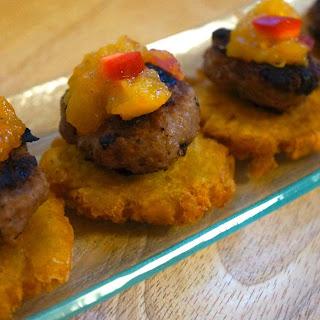 Fried Plantains with Mini Turkey Burgers and Mango Chutney