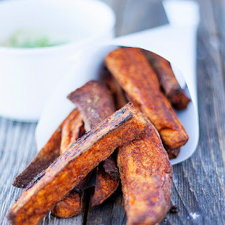 Spicy Baked Sweet Potato Fries With Avocado Cream