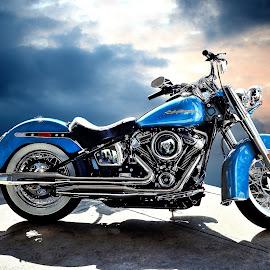 Harley Blues by JEFFREY LORBER - Transportation Motorcycles ( motorcycle, jeffrey lorber, rust 'n chrome, blue bike, harley, lorberphoto,  )