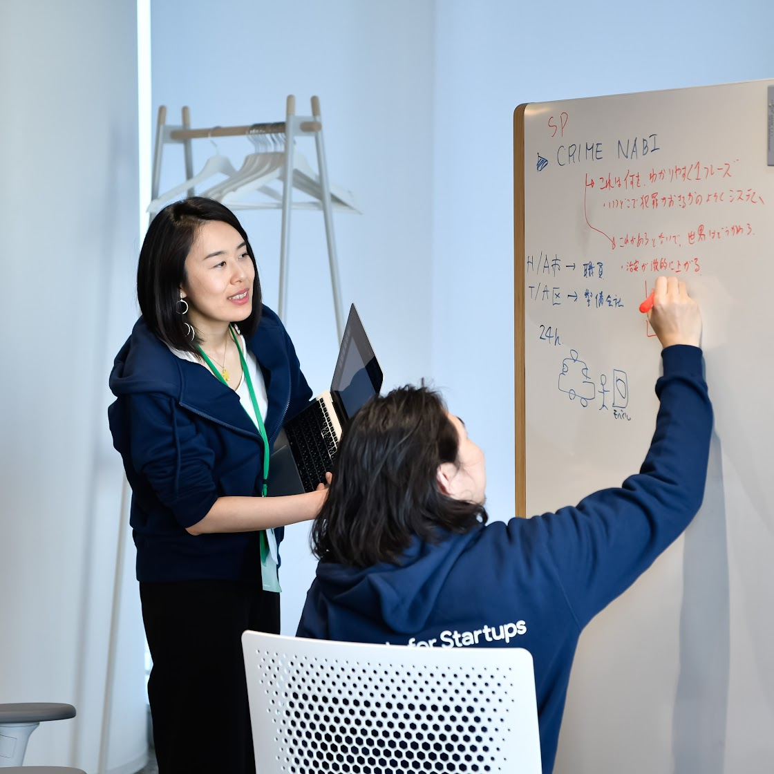 two people working at white board