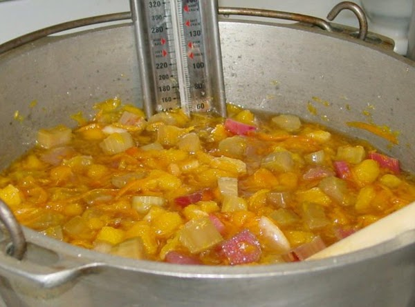 Add cut up rhubarb to the pot and heat over medium high heat. Cook...