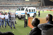 Two arrested for stadium riot.