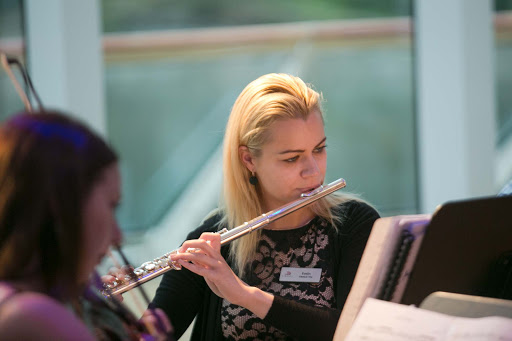 Evelin, a member of the classical trio performing for guests on Viking Sun.