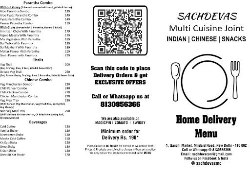 Sachdeva's - The Multi Cuisine Joint menu 1