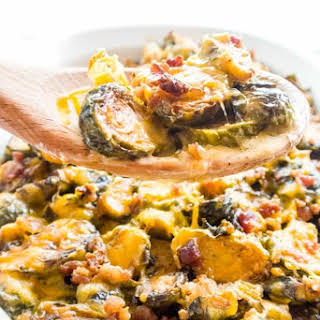 Brussels Sprouts Casserole Au Gratin with Bacon (Low Carb, Gluten-free).
