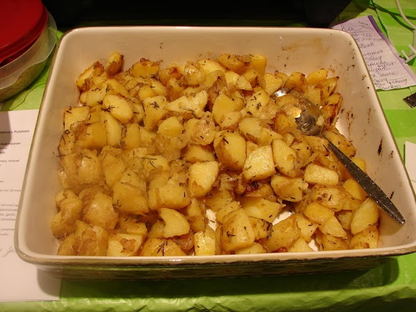 Transfer to a baking dish.  Roast the potatoes until golden and crispy at...