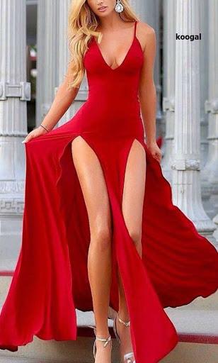Vestido largo con falda en piezas con aberturas hasta la cadera vendido en Koogal