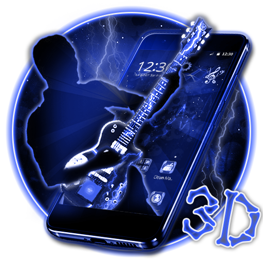 Neon Skull Guitar 3D Theme file APK for Gaming PC/PS3/PS4 Smart TV