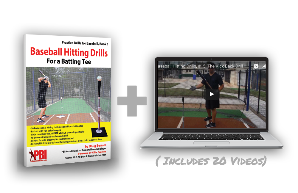 Baseball Hitting Drills for a Batting Tee, with 20 online videos and the Personal Drill Helper to diagnose swing problems