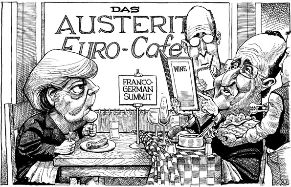 """Photo: The Economist's editorial cartoonist, Kevin (""""KAL"""") Kallaugher, has pulled together his eight favourite cartoons from 2012. Which one is your favourite?"""
