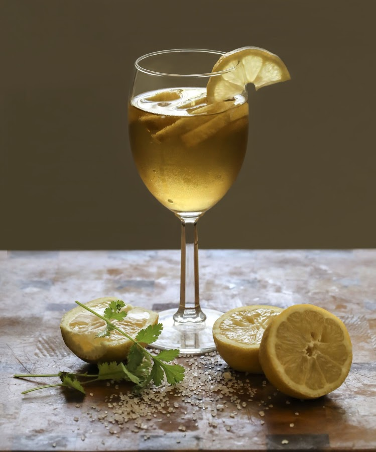 Cheers ..... Happy Father's Day by Tin Tin Abad - Food & Drink Alcohol & Drinks ( wine, cilantro, wine glass, soda, lemon, salt )