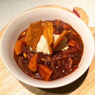 Smokey Black Bean Stew with Hummous and Chilli Tortilla Chips (V, Ve, GF)