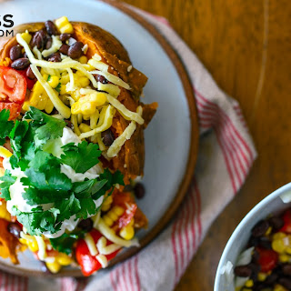Hearty & healthy Mexican stuffed sweet potatoes.