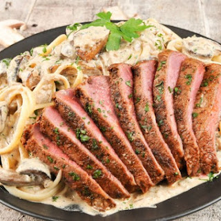 Flat-Iron Steak Stroganoff with creamy mushroom pasta