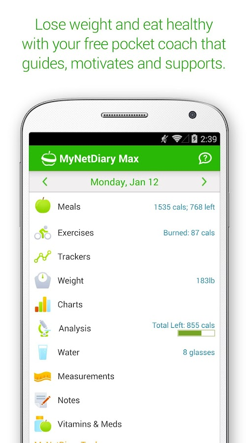 MyNetDiary Calorie Counter PRO- screenshot