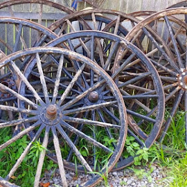 Antique Wagon Wheels by Rita Goebert - Artistic Objects Antiques ( wagon wheels; antiques; 64 main street trading co., ny;, macedon;,  )