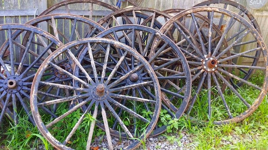 Antique Wagon Wheels by Rita Goebert - Artistic Objects Antiques ( wagon wheels; antiques; 64 main street trading co., ny;, macedon;,  )