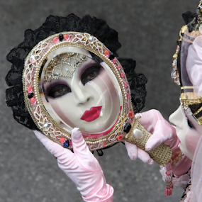 Mirror reflection by Dominic Jacob - People Musicians & Entertainers ( reflection, carnival, carnevale, reflections, mask, italie, masque, mirror, venezia, italia, carnaval, venice, venise, italy, maschere,  )