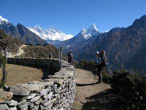 Photo: Helga and Ama Dablam (in front of Panorama Hotel)