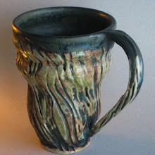 Photo: sea weed mug, 3rd of 4 pieces I threw in Dec. and glazed and fired in Jan. My favorite mug from Jan.