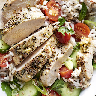 Greek Chicken with Tomato-and-Rice Salad.