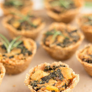 Rosemary Cracker Bites With Goat Cheese, Kale and Potatoes.